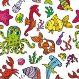 Cartoon Funny Fish, Sea Life seamless pattern.Doodle Royalty Free Stock Photography
