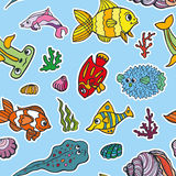 Cartoon Funny Fish, Sea Life seamless pattern.Doodle set Royalty Free Stock Photo