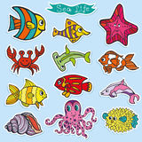 Cartoon Funny Fish, Sea Life stickers.Colorful. Sea life animals stickers set. Fish,  octopus and crab,starfish.Funny cartoon doodle underwater world. Baby hand Royalty Free Stock Photos