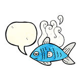 cartoon funny fish with speech bubble Royalty Free Stock Images