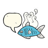 cartoon funny fish with speech bubble Stock Images