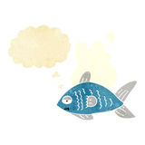 Cartoon funny fish with thought bubble Royalty Free Stock Photography