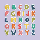 Cartoon funny font. Color english baby alphabet. Cartoon funny font. Vector english baby alphabet. Colorful latin letters Royalty Free Stock Photography