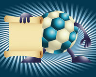 Cartoon funny football and paper Royalty Free Stock Image