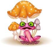 Cartoon funny frog with mushrooms vector illustration