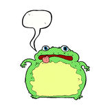 Cartoon funny frog with speech bubble Stock Photography