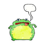 Cartoon funny frog with speech bubble Royalty Free Stock Images