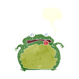 Cartoon funny frog with speech bubble Royalty Free Stock Image