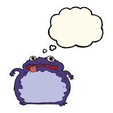 Cartoon funny frog with thought bubble Royalty Free Stock Photography