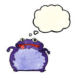 Cartoon funny frog with thought bubble Royalty Free Stock Photos