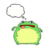 Cartoon funny frog with thought bubble Stock Photography