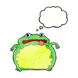 Cartoon funny frog with thought bubble Stock Image