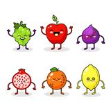 Cartoon funny fruits characters. Happy food sticker, big collection. Fig, orange, lemon. Happy smiling fruits face isolated on white background. Healthy fruit Royalty Free Stock Image