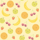Cartoon funny fruits seamless pattern Stock Photos