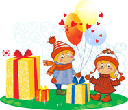 Cartoon funny girl and boy with gifts and balloons.  Royalty Free Stock Image