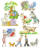 Cartoon Funny Goats. Illustration of Goats Cartoon Funny Characters. Isolated on white Stock Images