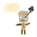 cartoon funny gold robot with speech bubble Stock Photography