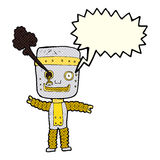 cartoon funny gold robot with speech bubble Stock Images