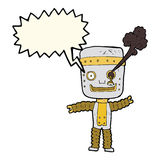 cartoon funny gold robot with speech bubble Royalty Free Stock Photography