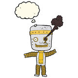 cartoon funny gold robot with thought bubble Stock Photo