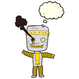 cartoon funny gold robot with thought bubble Stock Image