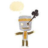 cartoon funny gold robot with thought bubble Stock Photos