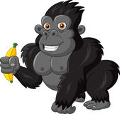 Cartoon funny gorilla holding banana Royalty Free Stock Photography