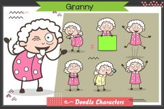 Cartoon Funny Granny Character Many Expressions And Poses Vector Set Stock Photography