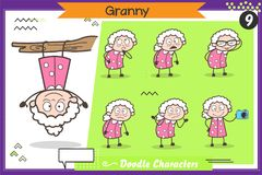 Cartoon Funny Granny Character Various Action and Concepts Vector Set. Cartoon Funny Granny Character Various Action and Concepts Vector Design royalty free illustration