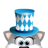 Cartoon funny gray cat in a bavarian hat. Card for Oktoberfest. Royalty Free Stock Images