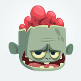 Cartoon funny gray zombie head. Vector illustration. Stock Images