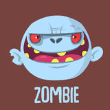 Cartoon funny gray zombie head. Vector illustration. Royalty Free Stock Photo