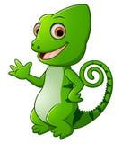 Cartoon funny green lizard posing Royalty Free Stock Photography