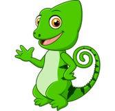 Cartoon funny green lizard posing Royalty Free Stock Image