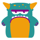 Cartoon Funny Green Monster Character Isolated Royalty Free Stock Photos
