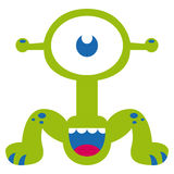 Cartoon Funny Green Monster Character Isolated Royalty Free Stock Photo