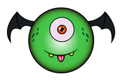 Cartoon Funny Green Monster. With dark wings Royalty Free Stock Photos