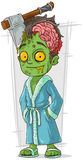 Cartoon funny green zombie in bathrobe Stock Photography