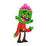 Cartoon funny green zombie  growling. Halloween vector illustration of monster. Stock Photography