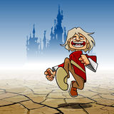 Cartoon funny guy cheerfully running through the desert with a castle Royalty Free Stock Image