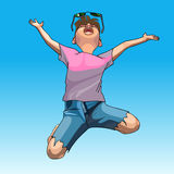 Cartoon funny guy enthusiastically jumps Royalty Free Stock Photo