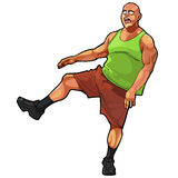 Cartoon funny guy muscular, jumping on one leg Royalty Free Stock Photos