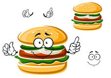 Cartoon funny hamburger with vegetables Royalty Free Stock Photo