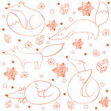 Cartoon funny happy fox seamless pattern Stock Photography