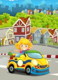 Cartoon funny and happy looking child - girl in racing car on race track near the city Stock Photos