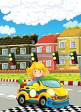 Cartoon funny and happy looking child - girl in racing car on race track near the city Royalty Free Stock Photos