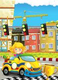 Cartoon funny and happy looking child - girl in racing car on race track near the city Royalty Free Stock Photography