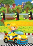 Cartoon funny and happy looking child - girl in racing car on race track near the city Royalty Free Stock Images