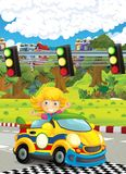 Cartoon funny and happy looking child - girl in racing car on race track near the city Stock Image