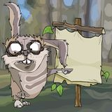 Cartoon funny hare points with a paw on an empty sign in the forest vector illustration
